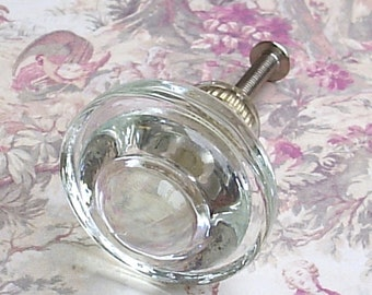 2 Glass Cabinet Knobs Drawer Pulls Hardware Round