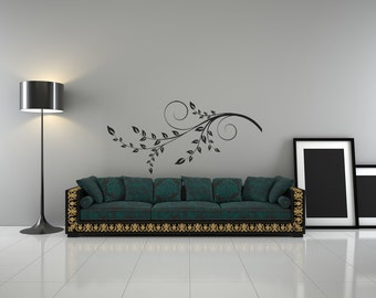 Branches, Swirl, Leaf, Leaves, Decorative Design, Horizontal, Seasonal, Spring, Summer, Vinyl Sticker, Branch Art, Wall Decal, Home Decor