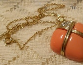 Vintage Peach with Gold Tone and Rhinestones Pendant with Chain