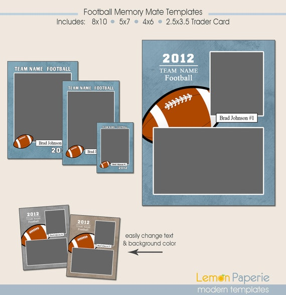 football memory mate templates photoshop template includes. Black Bedroom Furniture Sets. Home Design Ideas