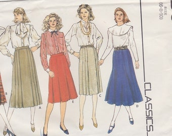 1980s Pleated and Gored Skirts Vintage Pattern, Butterick Classics 4717, Below Knee or Mid Calf Length, Tailored, Feminine
