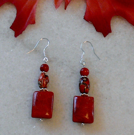 Apple coral and red mosaic magnesite earrings