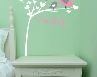 Bird Wall Decal - Nursery Wall Art -Childrens Wall Decal -  Personalized wall art