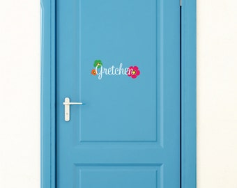 Name Door Decal - Small Decal - Name Wall Decal - Monogram Wall Decal - Small Wall Decal - Flower Wall Decal