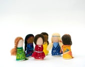 Handmade Waldorf Dolls.  Rainbow Waldorf-Inspired Worry Dolls. Made to Order.