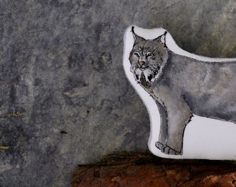 Canada Lynx Pillow Toy. Hand Painted Organic Cotton Soft Scuplture by AlyParrott on Etsy.