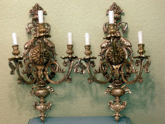 Exquisite Large Pair of Antique Italian Sconces 3 Light Brass Bronze Heavy Ornate