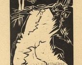 "Woodcut Maine Print ""Back From Burnt Head"" Trail"