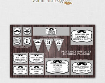 Mustache Birthday Party Package - PRINTABLE