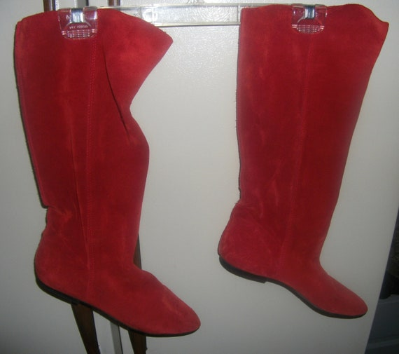 Vintage Suede Leather Slouch Boots Size 8 1/2 Good Condition Only 10 USD