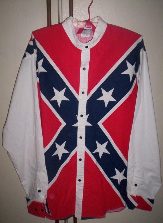 Vintage Men's Rebel Confederate Flag Shirt by Cowboy