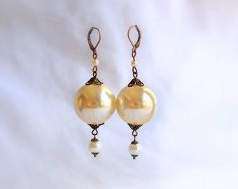 Giant Pearl & Copper Ball Earrings
