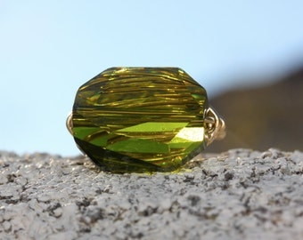 Gem Pops. Green Swarovski Crystal in Olive Green Gold Wire Wrapped Ring