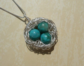 Birds Nest Necklace with 3 Eggs & Chain - Argentium Sterling Silver Pendant