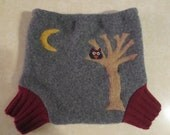 Night Owl Recycled Wool Sweater Shorties Soaker with Tree Owl Moon Applique