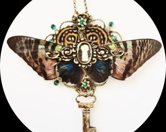 real butterfly wing necklace in filigree cameo and steampunk key - SECRET GARDEN