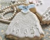 Blue Beaded Wedding Dress Sugar Cookies