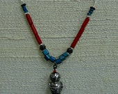 Cute Robot Red and Blue Gemstone and Glass Mixed Metal Necklace, One of a Kind