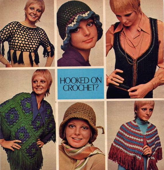 Vintage 1970s Hippie Boho Crochet Patterns Cloche Hat, Peasant Vest, Midriff Tassel Sweater, Poncho PLUS Knit Quick Bags Accessories