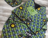 the PEANUT POD baby swaddle and hanky bib - a wrap blanket swaddler -  Soft Warm & Cozy - Ready To Ship - John Deer Plaid - blue, green
