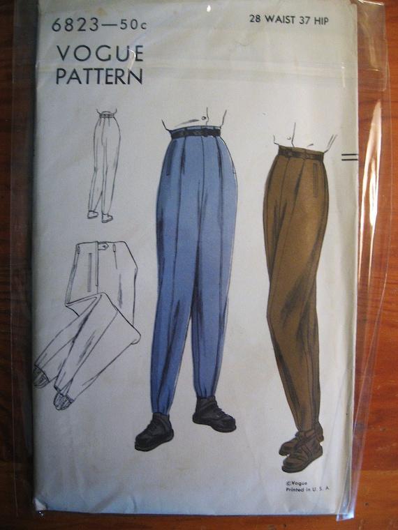 1940's VOGUE Ski Pants Pattern ... Size 28 Waist 37 Hip... 6823