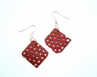 Unique Red Metal Earrings / Handmade Recycled Jewelry / Upcycled Gift Idea