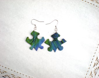 Puzzle Piece Earrings / Green and Blue UPcycled Jewelry / Palm Tree Leaf