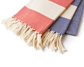 Set of 2 - SALE 30% OFF Extra Soft Turkish Towels for Bath and Beach - Marine Blue and Red