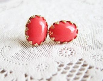 Coral Earring Studs Coral Wedding Bridesmaids Gift Gold Edge Post Neon Colors Elegant Chic Modern Bohemian Exotic Dark Orange Red MS1