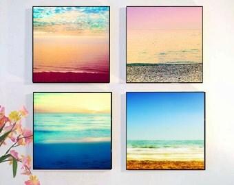 Beach Photography Set, Ocean Photography Wall Art Sunset Retro Art Print, Abstract Sunset, Beach Wall Art Decor, Wood Block,