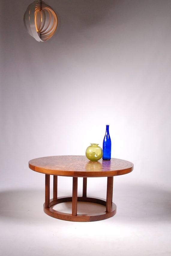 Mid Century Solid Walnut Mosaic Round Coffee Table