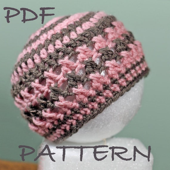 Crochet Baby Hat Pattern - Size 0 to Adult  - Versatile Textured Cross Hat Pattern - See pictures for versatility