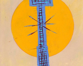 """Lycoming. Acrylic on Cardboard. Framed. 10"""" x 14"""". 2000. Original Painting. Klee. Abstract. Surrealism."""