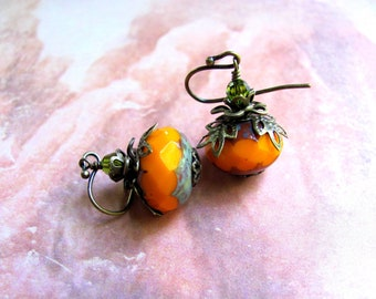 Pumpkin Earrings, Orange Earrings, Autumn Earrings, Fall Earrings, Holiday Earrings, Swarovski Earrings, Dangle Earring, Halloween Earrings