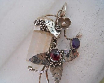 Unique Sterling Silver Rutilated Quartz Crystal with Faceted Amethyst and Cabochon Garnet Gemstone Pendant