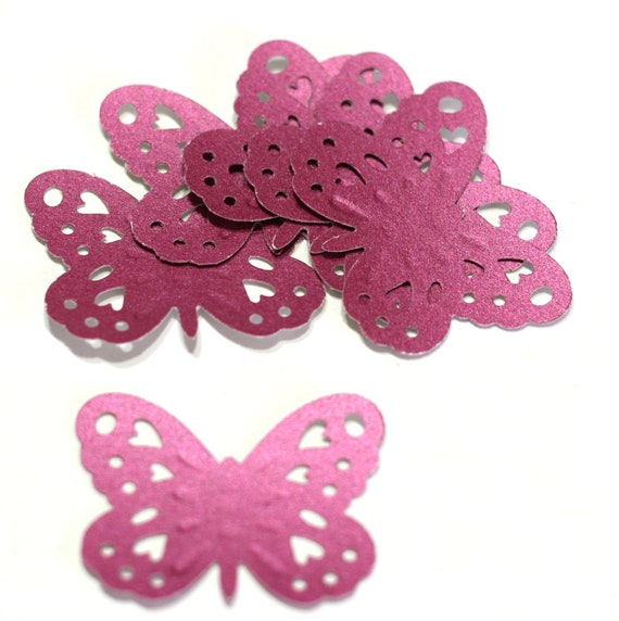Butterfly - Embossed with heart cutouts - dark pink - set of 12
