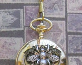 LARGE Steampunk Bumblebee and Gears Pocket Watch - Full Size with Fob