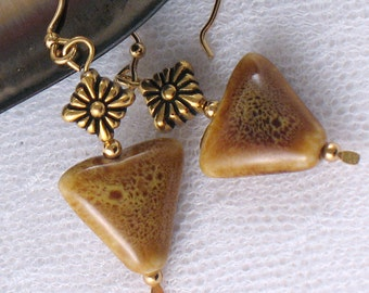 Inverted Triangle Bead Earrings - Speckled Brown and Honey Gold Ceramic Beads - Geometric - Gifts under 15