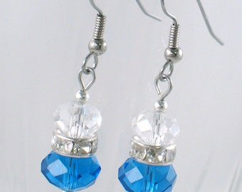 Blue and Clear Crystal Rondelle Earrings - Crystal Rhinestone Beads - Winter - Gifts Under 15