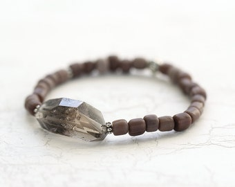 Rustic Raw Crystal Bracelet in Brown - Natural, Organic Jewelry for Layering & Stacking