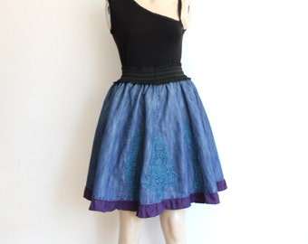 Denim Skirt ,Reconstructed, recycled Denim  Skirt - Size  Medium and Large