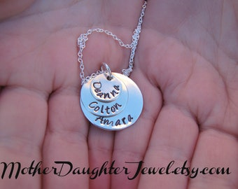 Personalized Necklace Three Stack Hand Stamped Necklace Sterling Silver Personalized Jewelry - Three Names Stacked Jewelry Mothers Day Gift