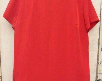 Vintage 90's Tomato Red Short Sleeve Top Blouse
