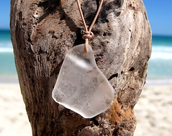 Hawaiian Very Unique Clear Beach Glass on India Leather Necklace