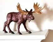 Woodland Glitter Moose Wedding Table Decoration for Rustic Autumn Baby Showers, Man Caves, Fall Tablescapes or Birthday Party Centerpiece