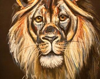 "Original Chalk Pastel Lion Drawing ""The King"""