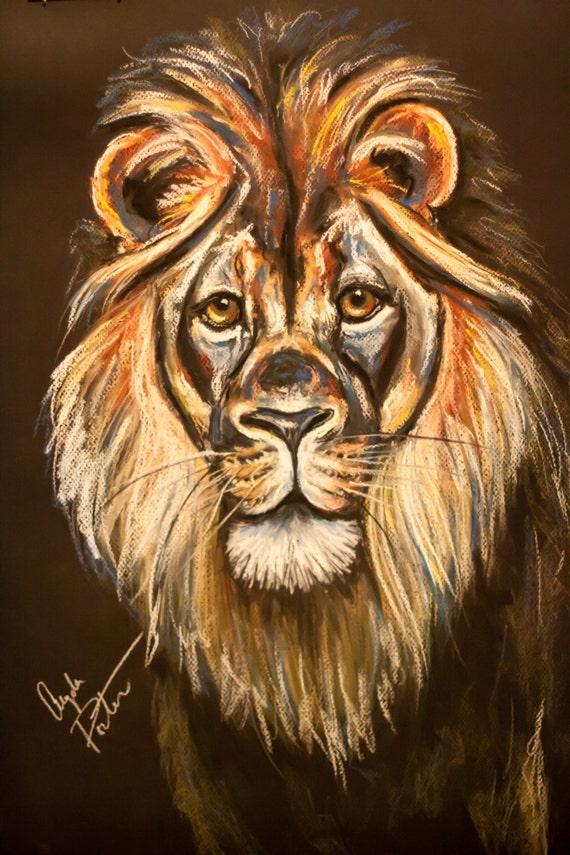 Original Chalk Pastel ... Colorful Lion Paintings