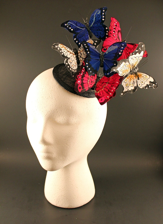 Patriotic Red White and Blue Butterfly Fascinator