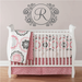 Name and Initial Vinyl Wall Decal Whimsical Border Personalized Monogram Wall Decal Girl Baby Nursery Room Wall Art 22Hx35W FS233