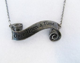 Once Upon a Time Necklace - Scroll - Gunmetal - Geekery - Fairy Tale - Fantasy - Cosplay - Geek - Summer - Graduation - Wedding - Gift